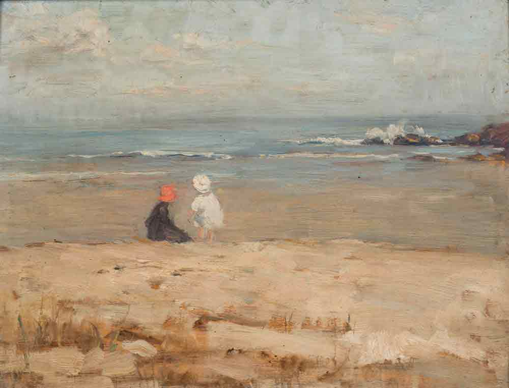 Alice Des Clayes Oil Painting 'Children on a Beach'
