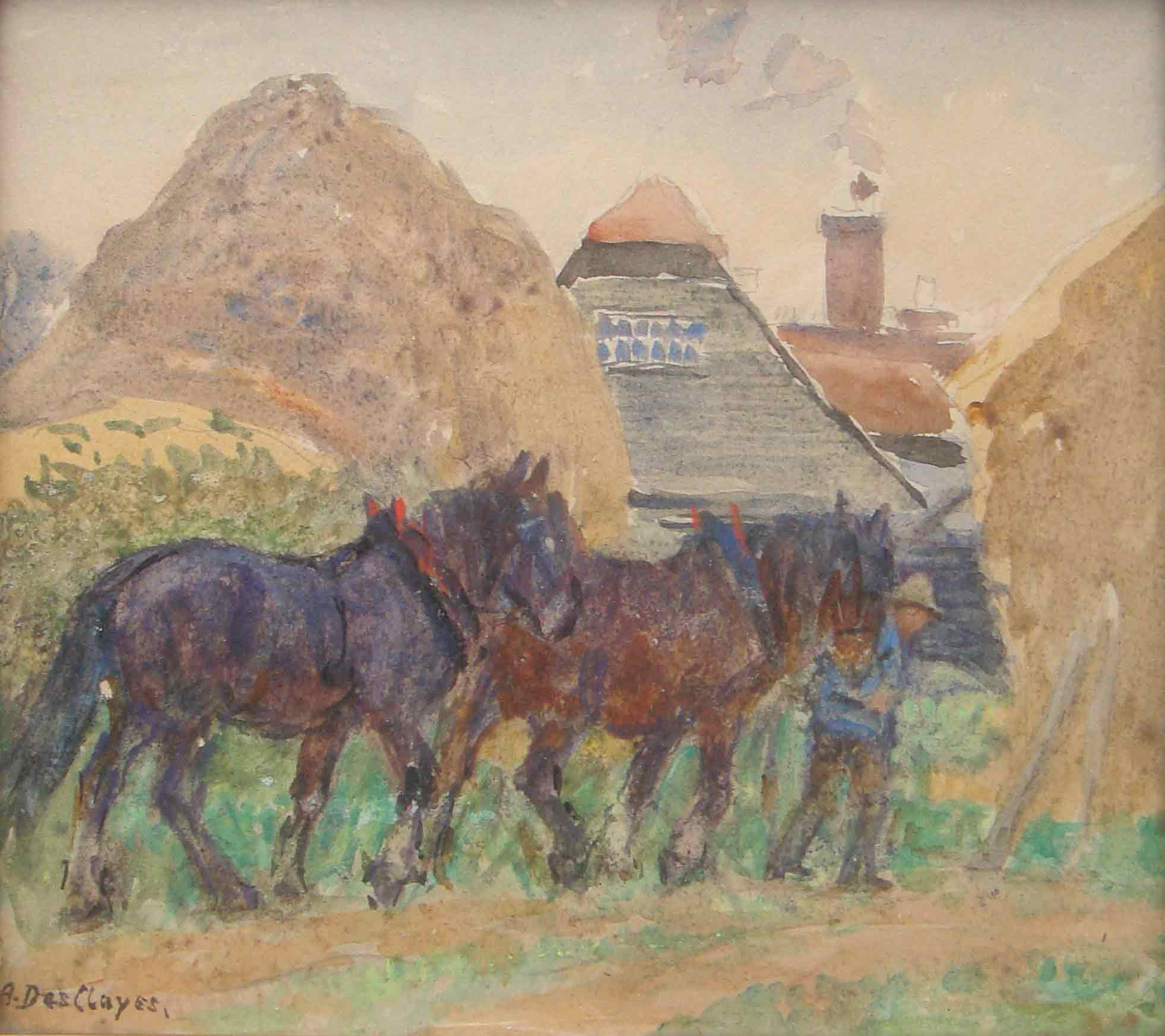 Alice Des Clayes Oil 'Plough Horses'