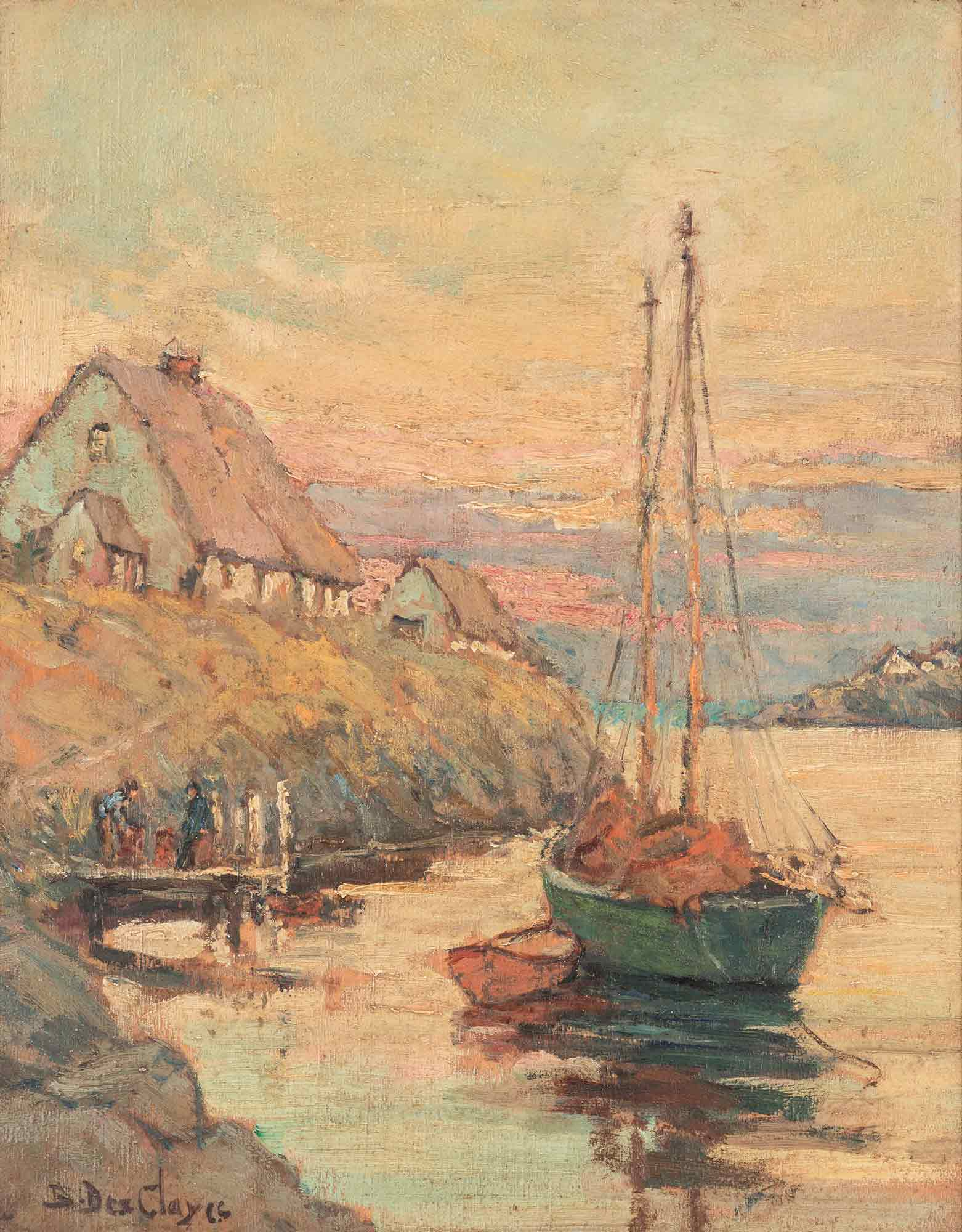 Berthe Des Clayes Oil 'Blue Rocks Harbour - Nova Scotia'
