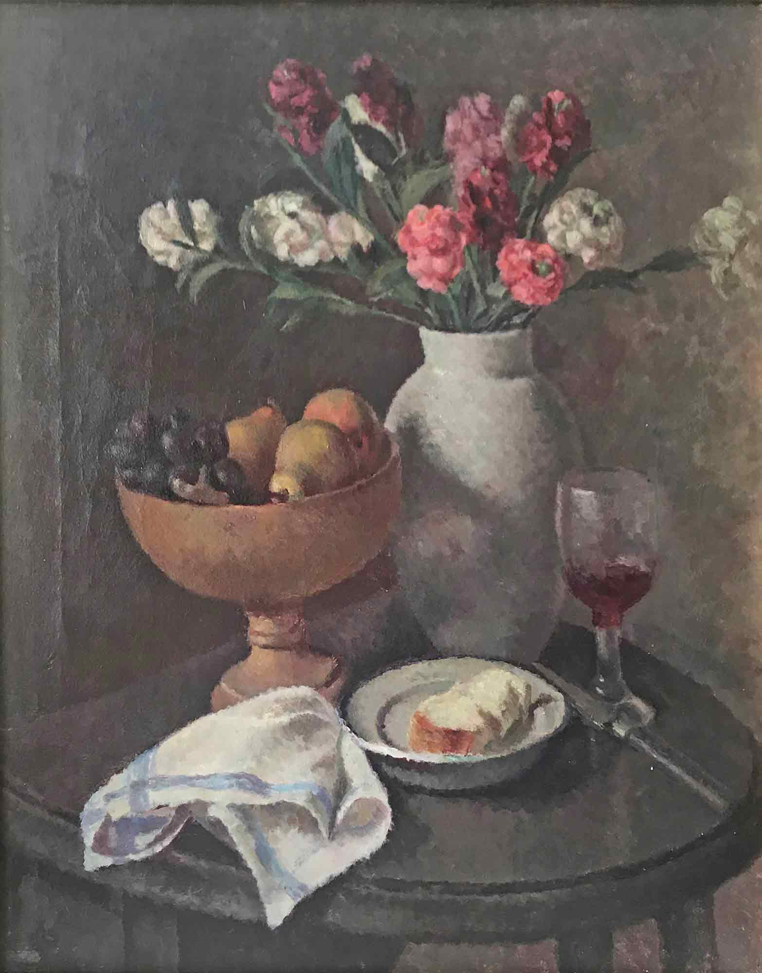 Dorothy Hepworth 'Pinks in Roger Fry's white pottery vase'