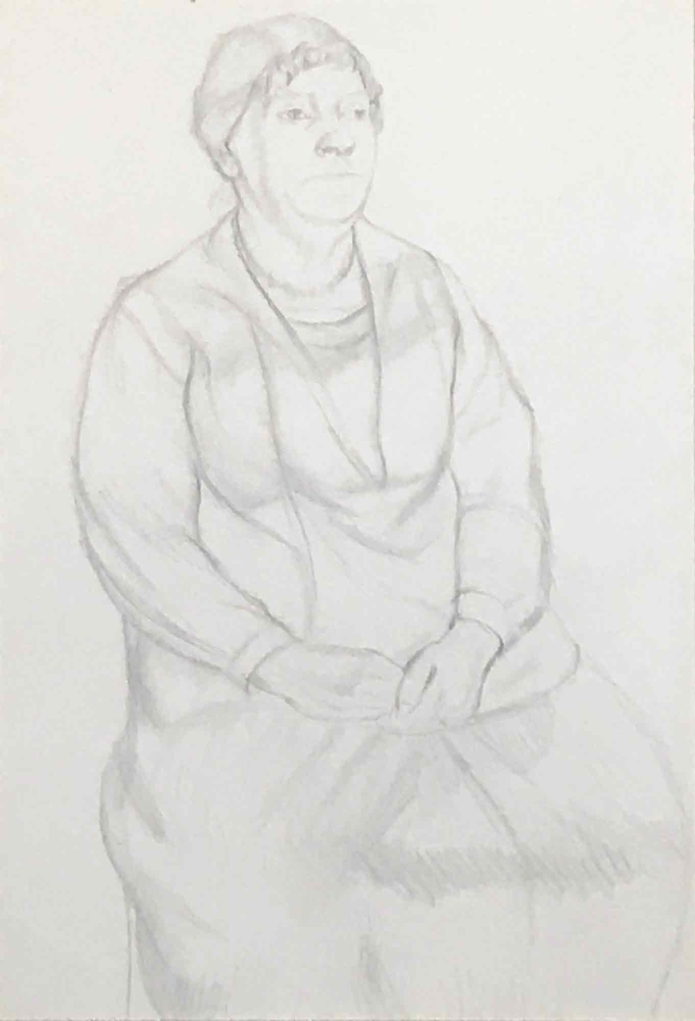 Dorothy Hepworth 'Pencil drawing of an elderly lady'
