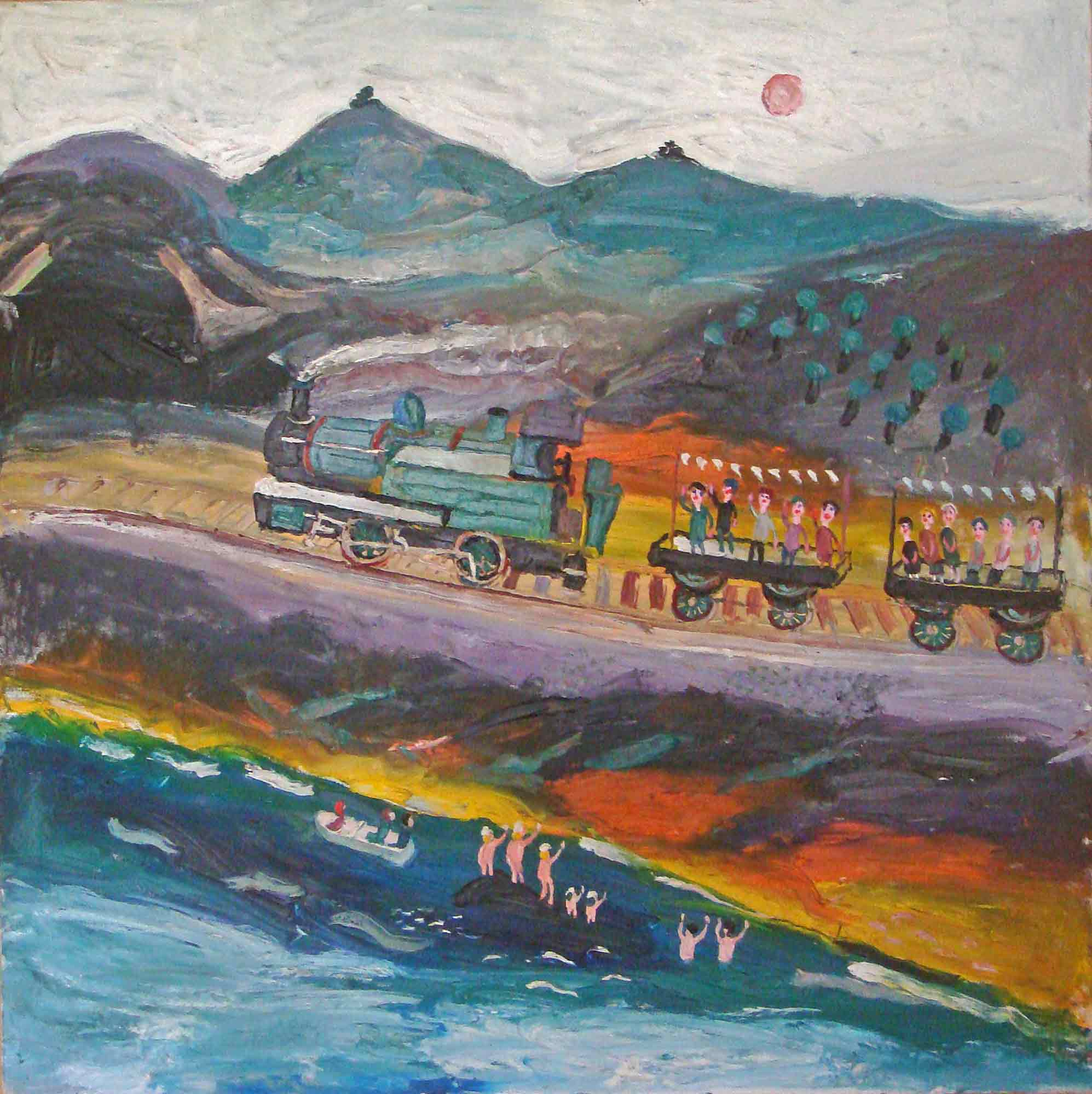 Fred Yates Acrylic Painting 'Train Journey'