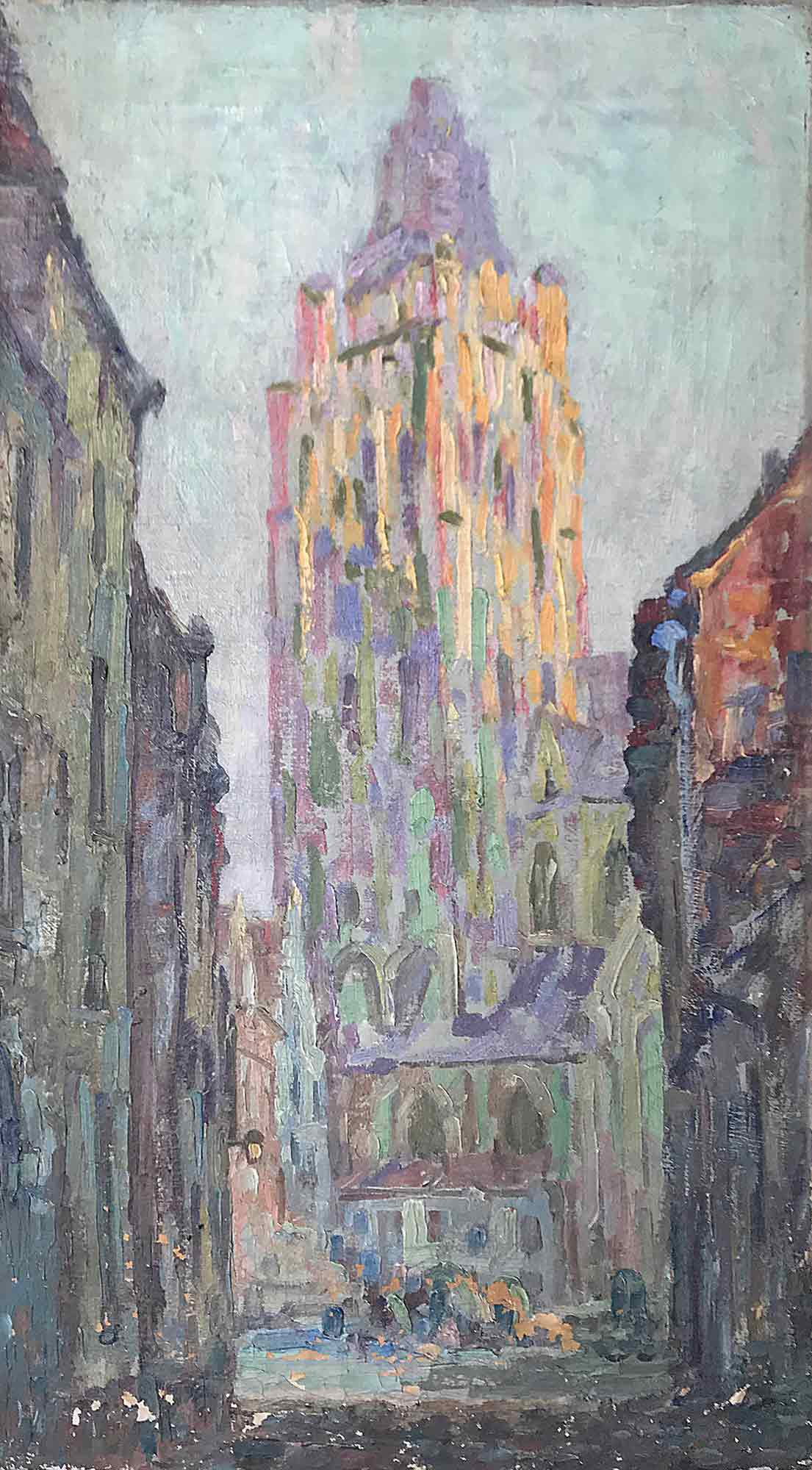 Church Tower - Oil on canvas signed with monogram c. 1900