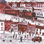 Fred Yates Acrylic Painting 'Train Leaving Station'